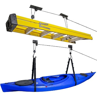RaxGo Ceiling Garage Storage Hoist System | Pack of 2 Overhead Rack Lifts for Hanging Kayaks, Bicycles, Tools & Other Large Items | Heavy-Duty Bracket Pulley, Ropes & Hardware | Total 121 Lb. Capacity