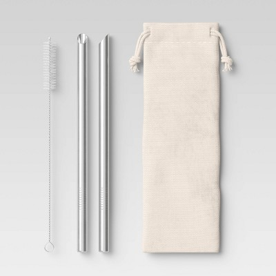 2pk Stainless Steel Smoothie Straws with Brush & Linen Bag - Room Essentials™