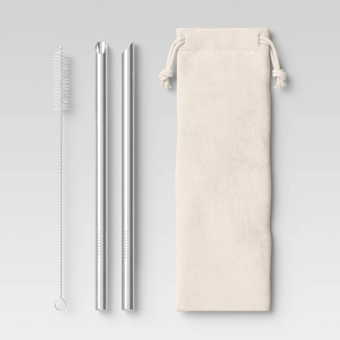 2pk Stainless Steel Smoothie Straws with Brush & Linen Bag - Room Essentials™ - image 1 of 4