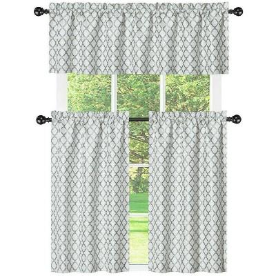 Kate Aurora White & Gray Moroccan Geometric Kitchen Curtain Tier & Valance Set - 56 in. W x 15 in. L, White/Gray