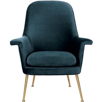 Aimee Velvet Arm Chair - Navy - Safavieh