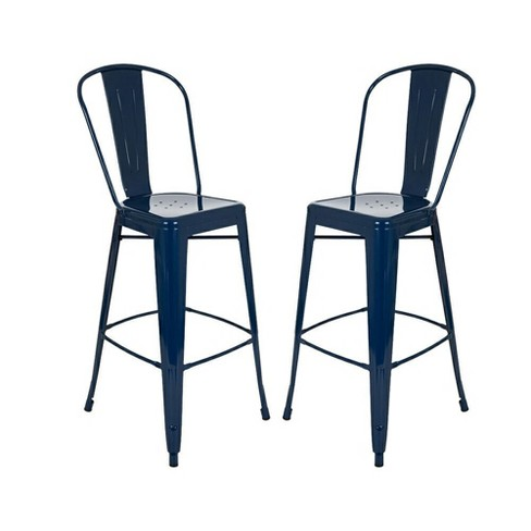 Amazing Set Of 2 Metal High Back 30 Bar Stool Navy Glitzhome Pabps2019 Chair Design Images Pabps2019Com