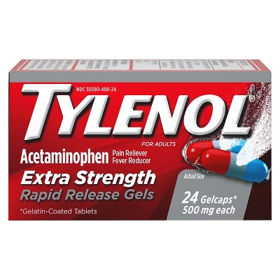 Tylenol Extra Strength Rapid Release Pain Reliever & Fever Reducer Gelcaps - Acetaminophen - 24ct
