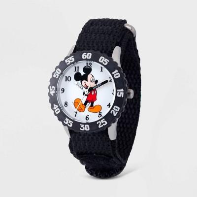 Kids' Disney Mickey Mouse Time Teacher Nylon Strap Watch - Black