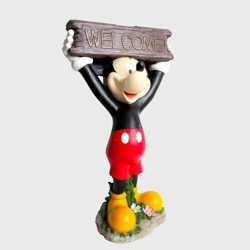 """Disney Mickey Mouse 22"""" Solar Resin Statue With A Welcome Sign"""