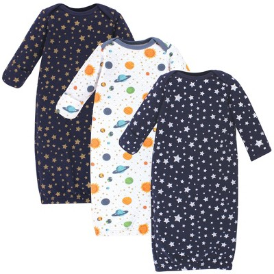 Hudson Baby Infant Quilted Cotton Long-Sleeve Gowns 3pk, Metallic Stars, 0-6 Months