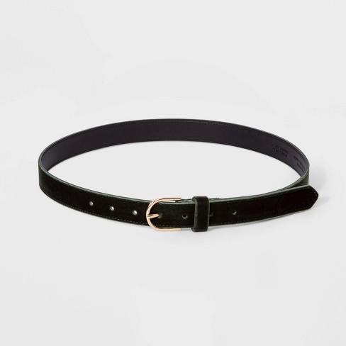 Women's Velvet Belt - A New Day™ Olive - image 1 of 2