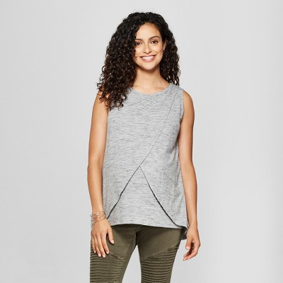 Maternity Cross-Panel Nursing Slub Tank - Isabel Maternity by Ingrid & Isabel™ Gray L