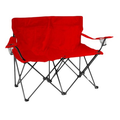 Trademark Innovation Loveseat Style Double Camp Chair with Steel Frame and Carrying Case - Red