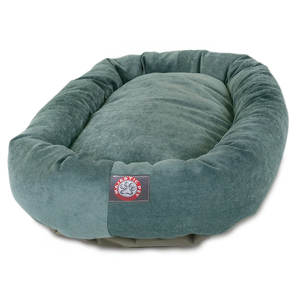 Majestic Pet Villa Collection Micro-Velvet Bagel Dog Bed - Azure - 32, Azure Blue