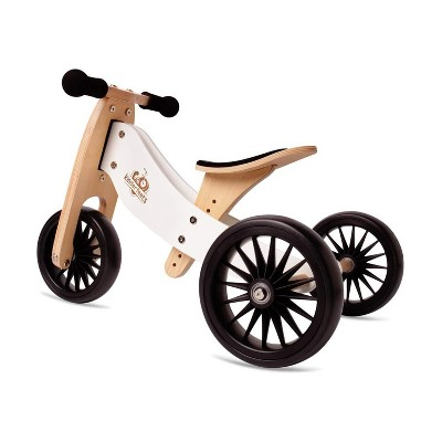 Kinderfeets 2-in-1 Tiny Tot PLUS Wooden Adjustable No Pedal Starter Tricycle and Balance Bike Ride On Toy for Kids and Toddlers, White