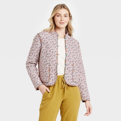 Women's Floral Print Quilted Jacket - Universal Thread™ Cream