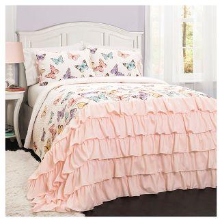 2pc Twin Flutter Butterfly Quilt Set Pink - Lush Décor