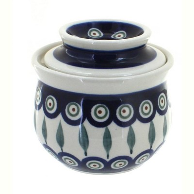Blue Rose Polish Pottery Peacock French Butter Dish