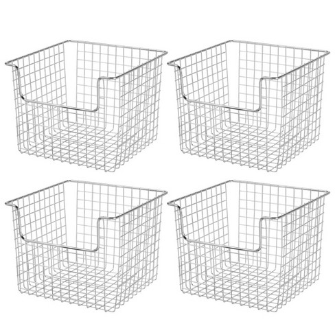 """mDesign Metal Storage Basket for Cube Furniture Units, 10"""" Wide, 4 Pack - Chrome - image 1 of 4"""