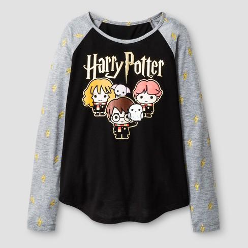 4ed66ec73 Girls' Harry Potter Long Sleeve Raglan T-Shirt - Black/Heather Gray ...