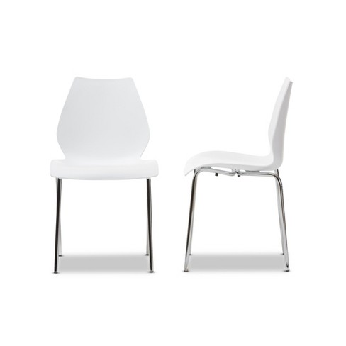 Overlea Plastic Modern Dining Chair White Set Of 2 Baxton Studio Target
