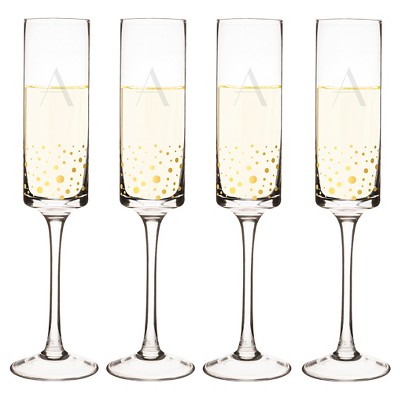 Cathy's Concepts® 4pc Monogram Gold Dots Champagne Flutes A