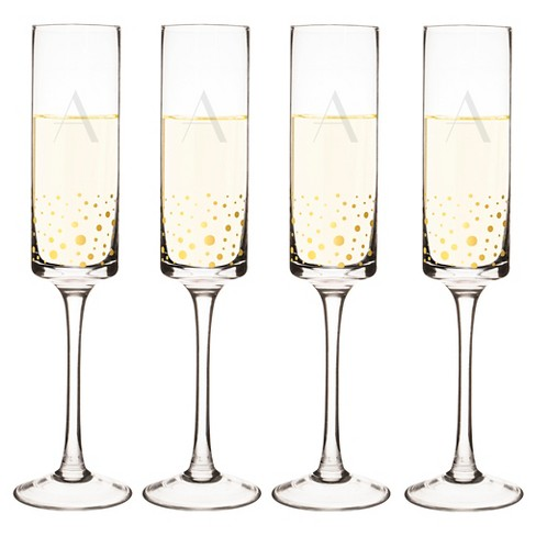 Cathy's Concepts® 4pc Monogram Gold Dots Champagne Flutes A-Z - image 1 of 4