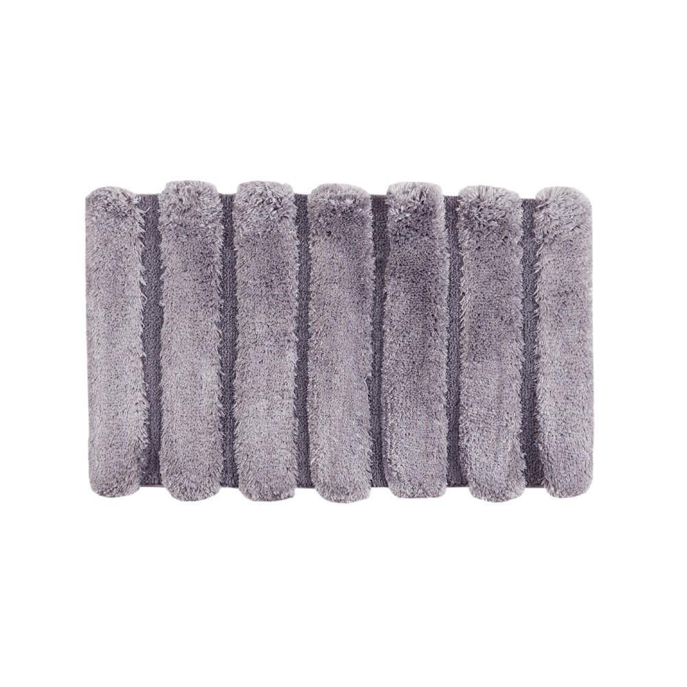 Tufted Pearl Channel Solid Bath Rug Grey (21x34)