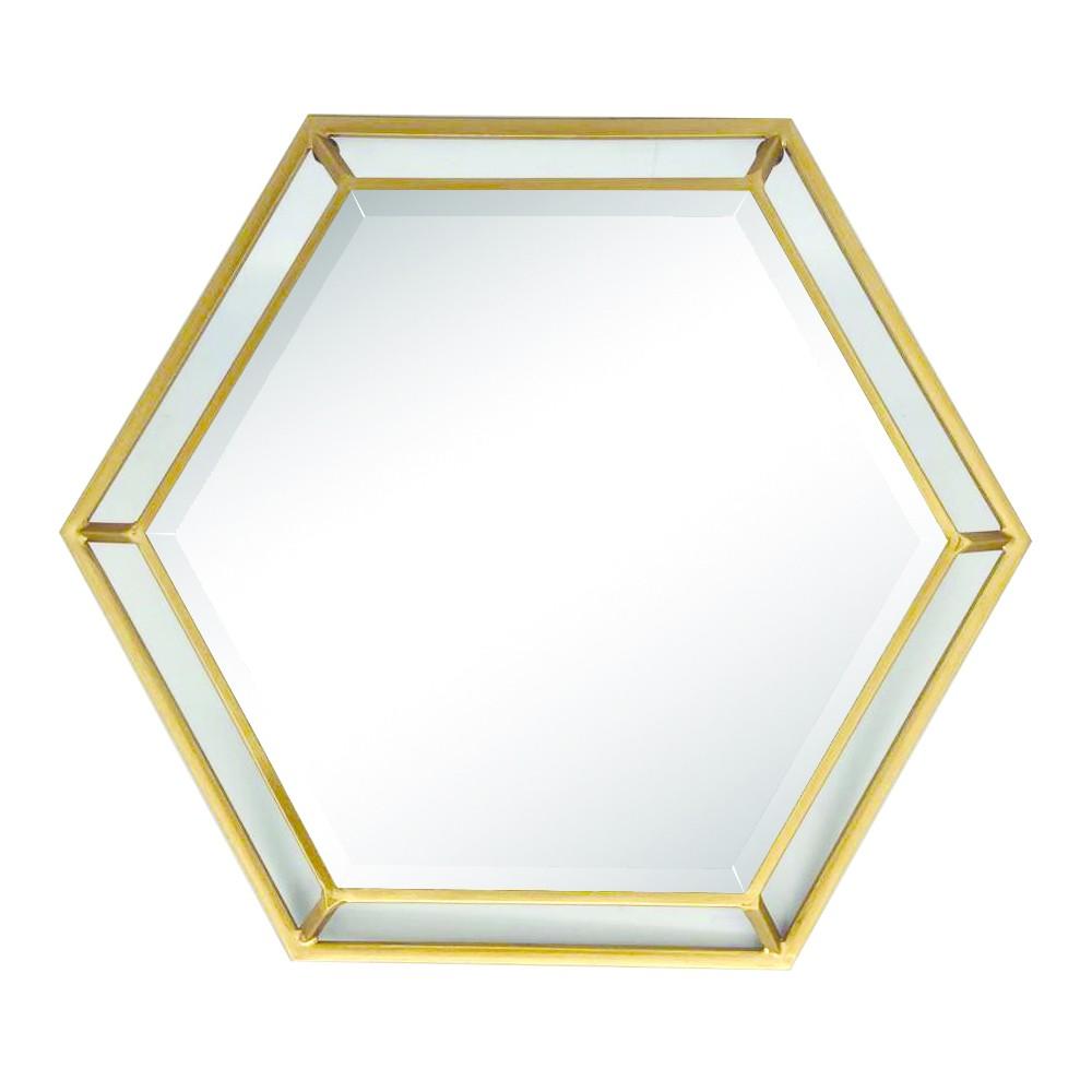 Hexagon Wall Mirror - Home Source, Gold