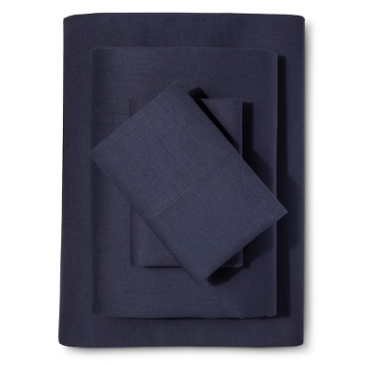 Washed Linen Cotton Blend Sheet Set (King)Indigo - Loft New York