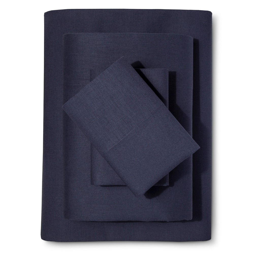 Washed Linen Cotton Blend Sheet Set (Cal King) Indigo (Blue) - Loft New York