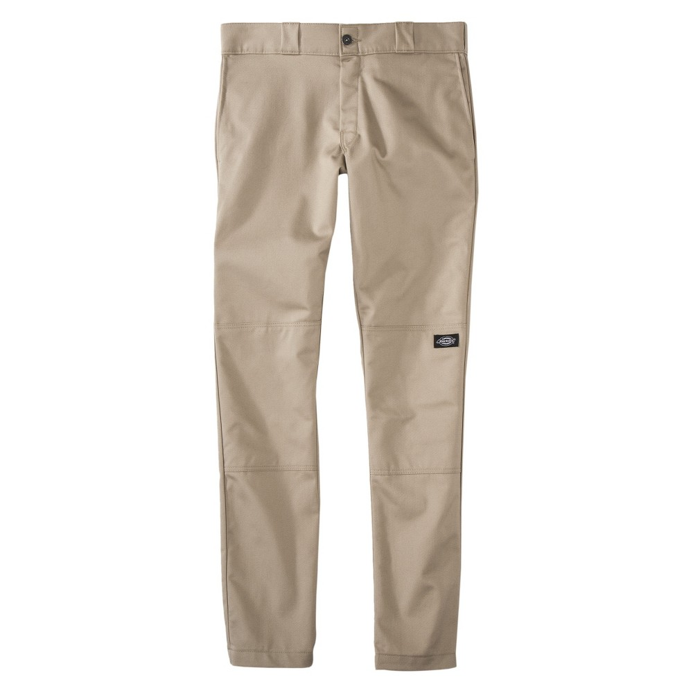Dickies Men's Skinny Straight Fit Flex Twill Double Knee Pants- Desert Sand 32x30, British Tan