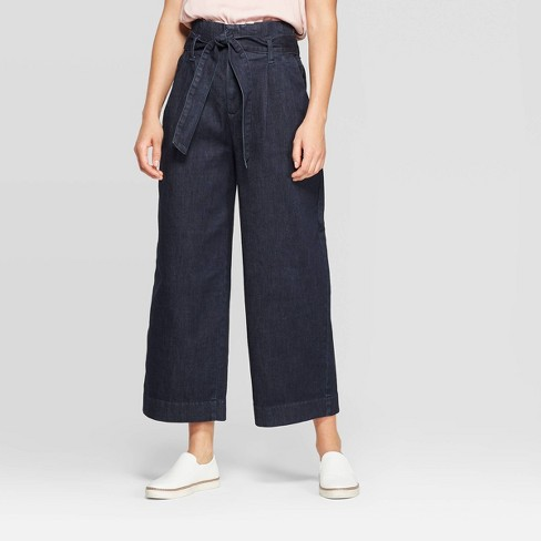 Women's High-Rise Regular Fit Wide Leg Paperbag Cropped Pants - A New Day™ Indigo - image 1 of 3