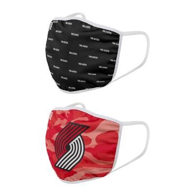NBA Portland Trail Blazers Adult Face Covering 2pk