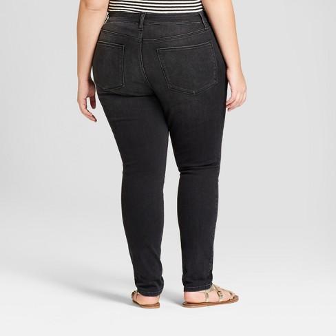7fb132564a1 Women s Plus Size Curvy Skinny Jeans - Universal Thread™ Black   Target