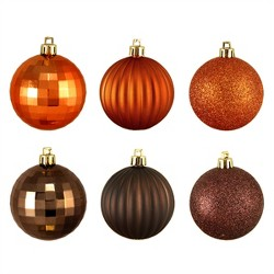 "Northlight 100ct Shatterproof 3-Finish Christmas Ball Ornament Set 2.5"" - Brown/Orange"