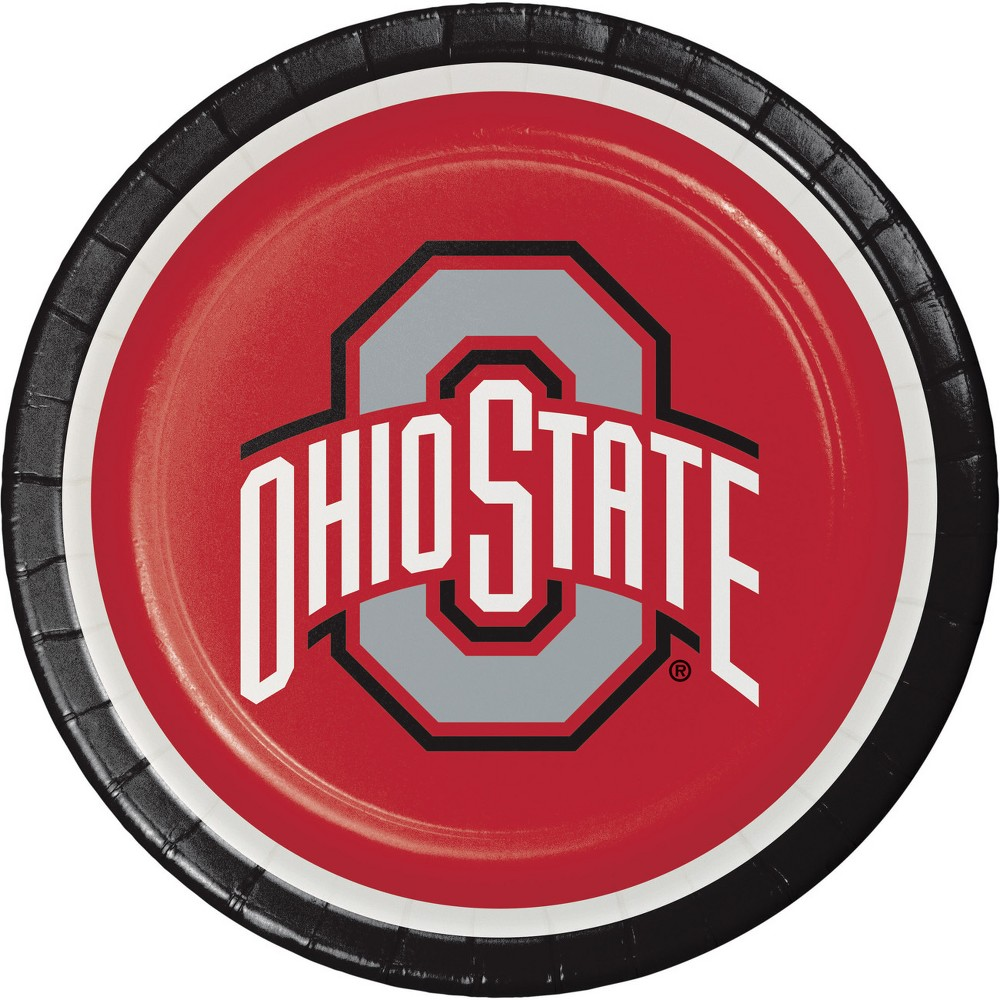 Image of 24ct Ohio State Buckeyes Paper Plates Red