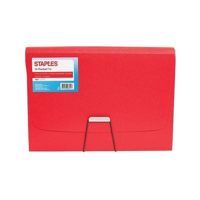Staples Plastic 13 Pocket Reinforced Expanding Folder Letter Size Red TR52016/52016