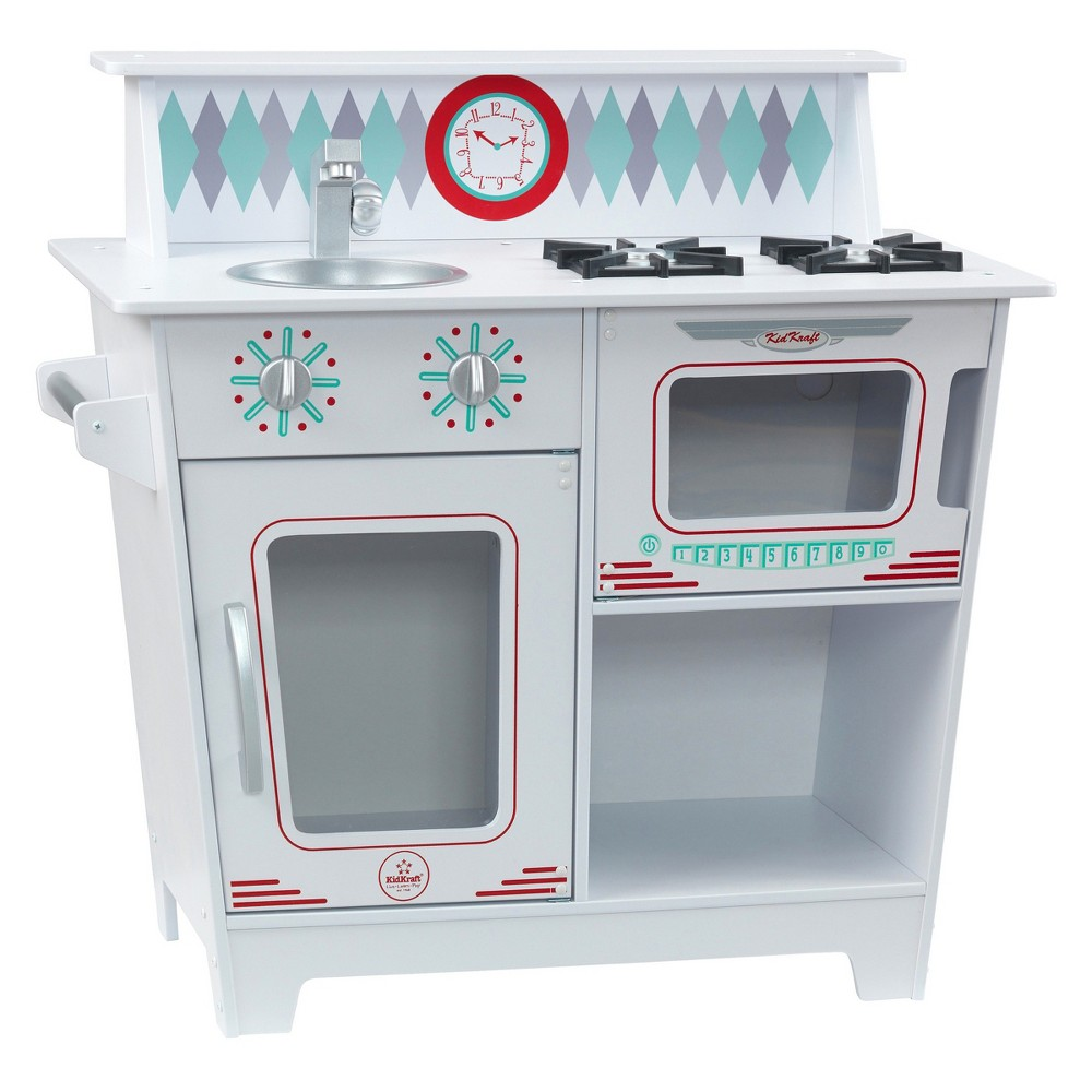 KidKraft Classic Kitchenette The KidKraft Classic Kitchenette has everything your little chef needs for fun and imaginative play! The bright colors and adorable design of this play kitchen will get kids cooking and having fun. Realistic burners and clicking, turning knobs complete the interactive experience. Plus, this kitchen's durable design will ensure years of fun and safe playtime. Who knows what imaginative delights this kitchenette will inspire? Gender: Unisex.