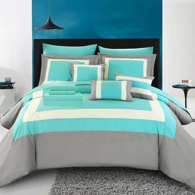 Queen 10pc Darren Comforter Set Turquoise - Chic Home Design
