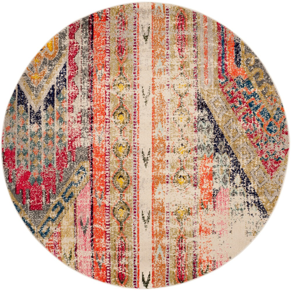 4' Tribal Design Round Area Rug Light Gray - Safavieh, Light Gray/Multi-Colored