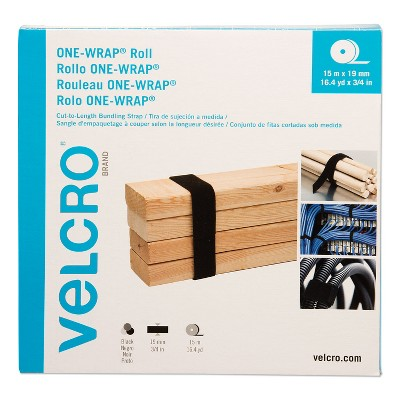 """VELCRO Brand ONE-WRAP Cut-To-Fit Standard-Ties, 0.75"""" x 49 ft, Black 30640"""