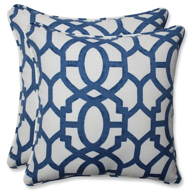 Outdoor/Indoor Nunu Geo Ink Blue Throw Pillow Set of 2 - Pillow Perfect