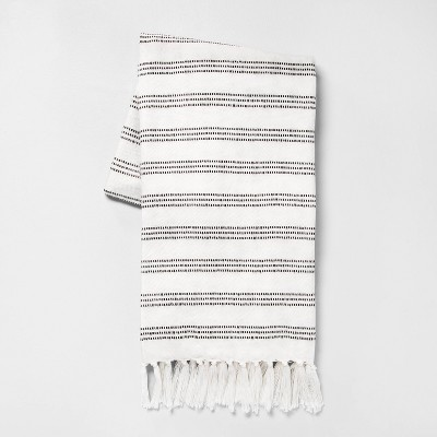 "60"" x 70"" Stripe Summer Throw Blanket Black / Sour Cream - Hearth & Hand™ with Magnolia"