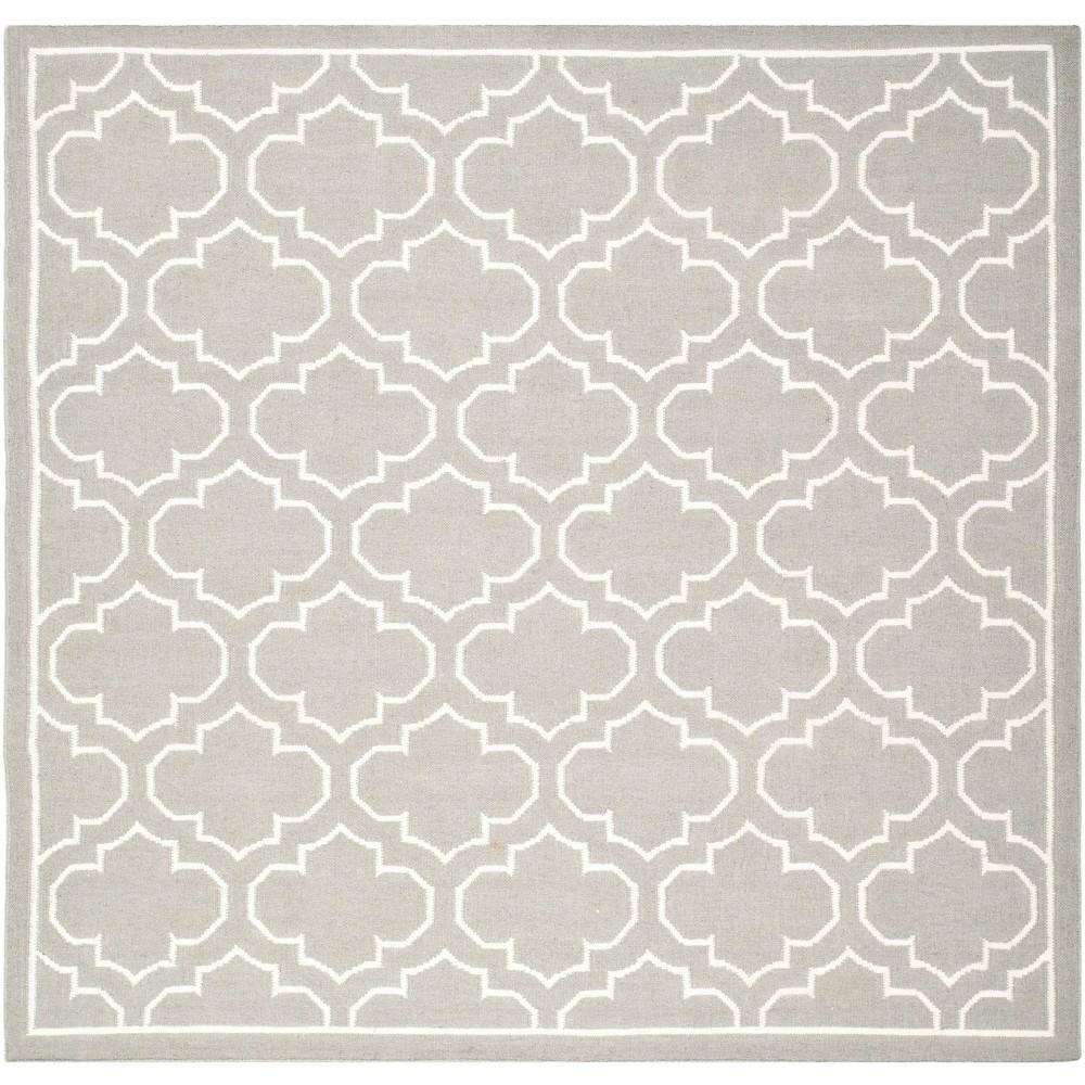 7'X7' Woven Quatrefoil Design Square Area Rug Gray - Safavieh, Gray/Ivory