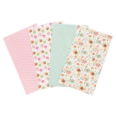 Trend Lab Elephants and Owls Flannel Burp Cloth Set - Pink 4pk