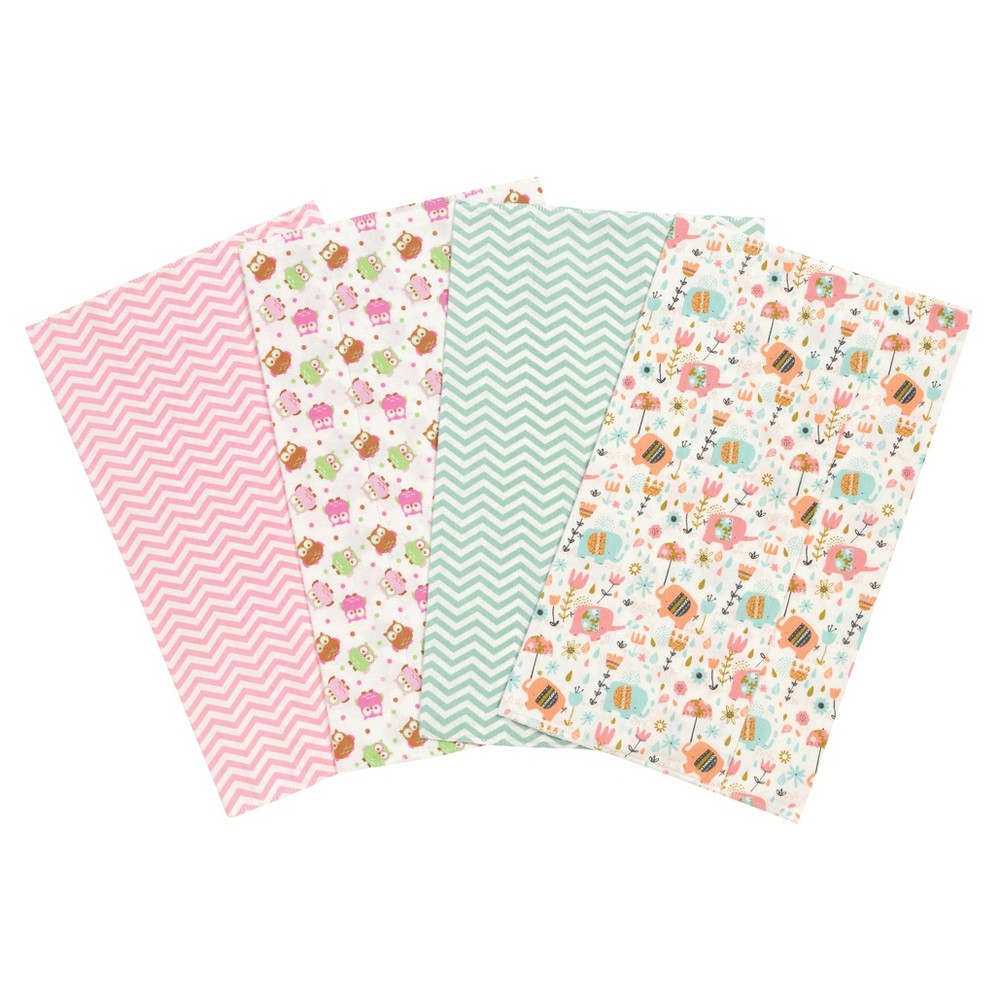 Trend Lab Elephants and Owls Flannel Burp Cloth Set - Pink 4pk