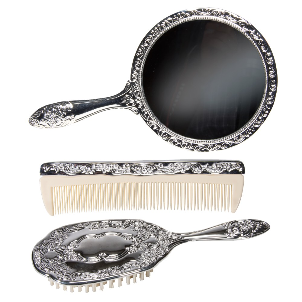 1900-1910 Edwardian Makeup and Beauty Products Harry Koenig Silver-Plated Vanity Set - 3 pc Silver $33.49 AT vintagedancer.com