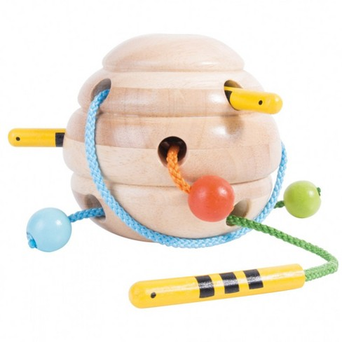 Guidecraft Beehive Lacing Activity with Three Bees on Multi-Colored Strings - image 1 of 4