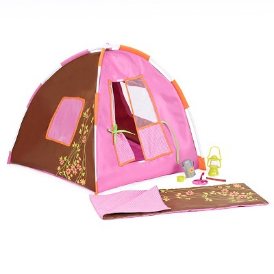 """Our Generation Tent & Sleeping Bag Accessory for 18"""" Dolls - Polka Dot Camping Set - Pink"""