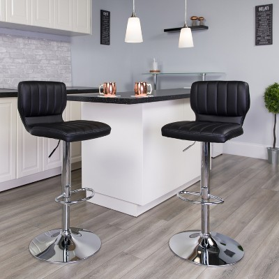 Flash Furniture Contemporary Vinyl Adjustable Height Barstool with Vertical Stitch Back and Chrome Base
