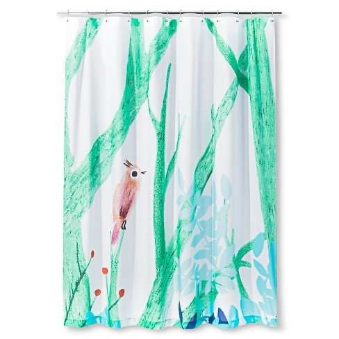 Bird Branch Shower Curtain Green/Blue - AiR® - image 1 of 1