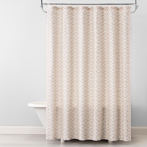 Plus Medallion Shower Curtain Beige Linen