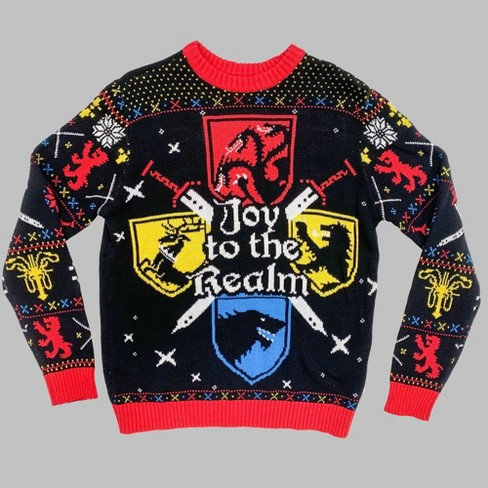 Men's Game of Thrones Joy To The Realm Crew Neck Ugly Sweater - Black - image 1 of 1